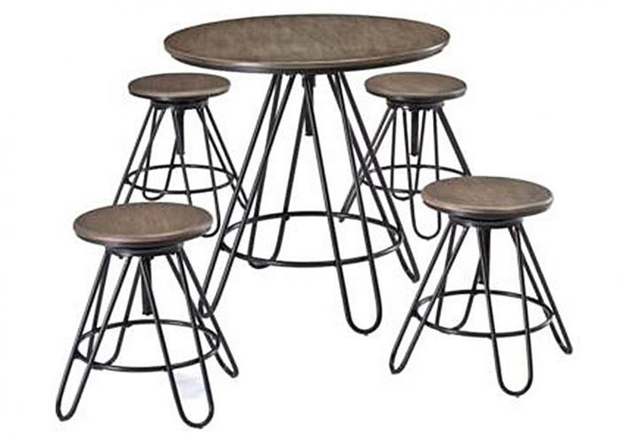 Sonilyn Gray/Black 5 Piece Counter Height Adjustable Table Set (Crowley Location),Instore
