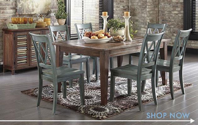 Mestler Dark Brown Rectangular Dining Table W/ 6 Antique Blue Side Chairs