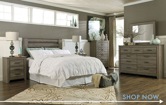 Zelen Queen/Full Poster Headboard, Dresser & Mirror