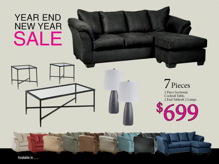 BUNDLES / Darcy Sofa Chaise/ Coffee 2 Ends/ 2 Lamps,Brandywine Showcase