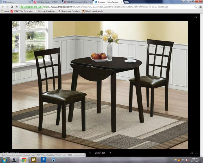 Drop Leaf Espresso Table 2 Chairs,Brandywine Showcase