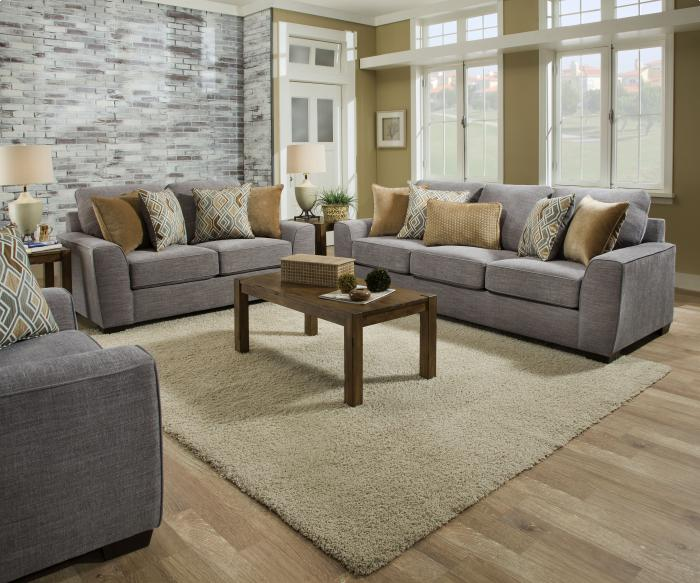 Pompe Silver Sofa & Love,Brandywine Showcase