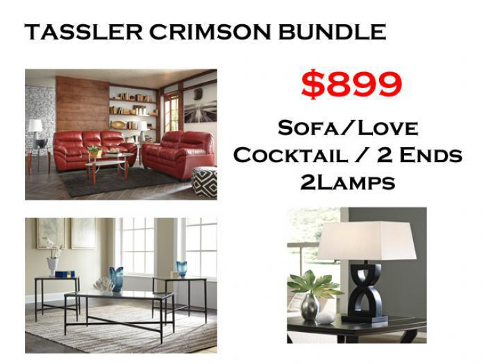 BUNDLE / Tassler Crimson Sofa / Love Cafe Coffee 2 Ends/ 2 Lamps,Brandywine Showcase