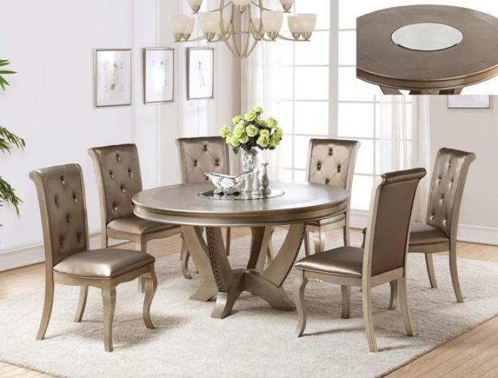 Mina Round Dining Table W/Mirror Lazy Susan/4 Chairs,Brandywine Showcase