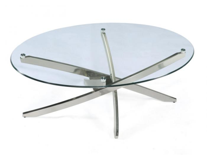 Cocktail Table Round Zila Brushed Nickel/Glass,Brandywine Showcase