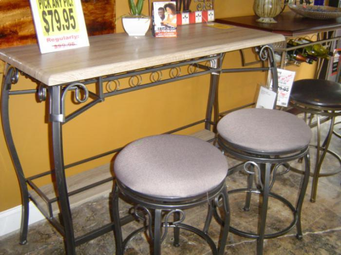 3 Pack Bar & 2 Stools GRAY ,Brandywine Showcase