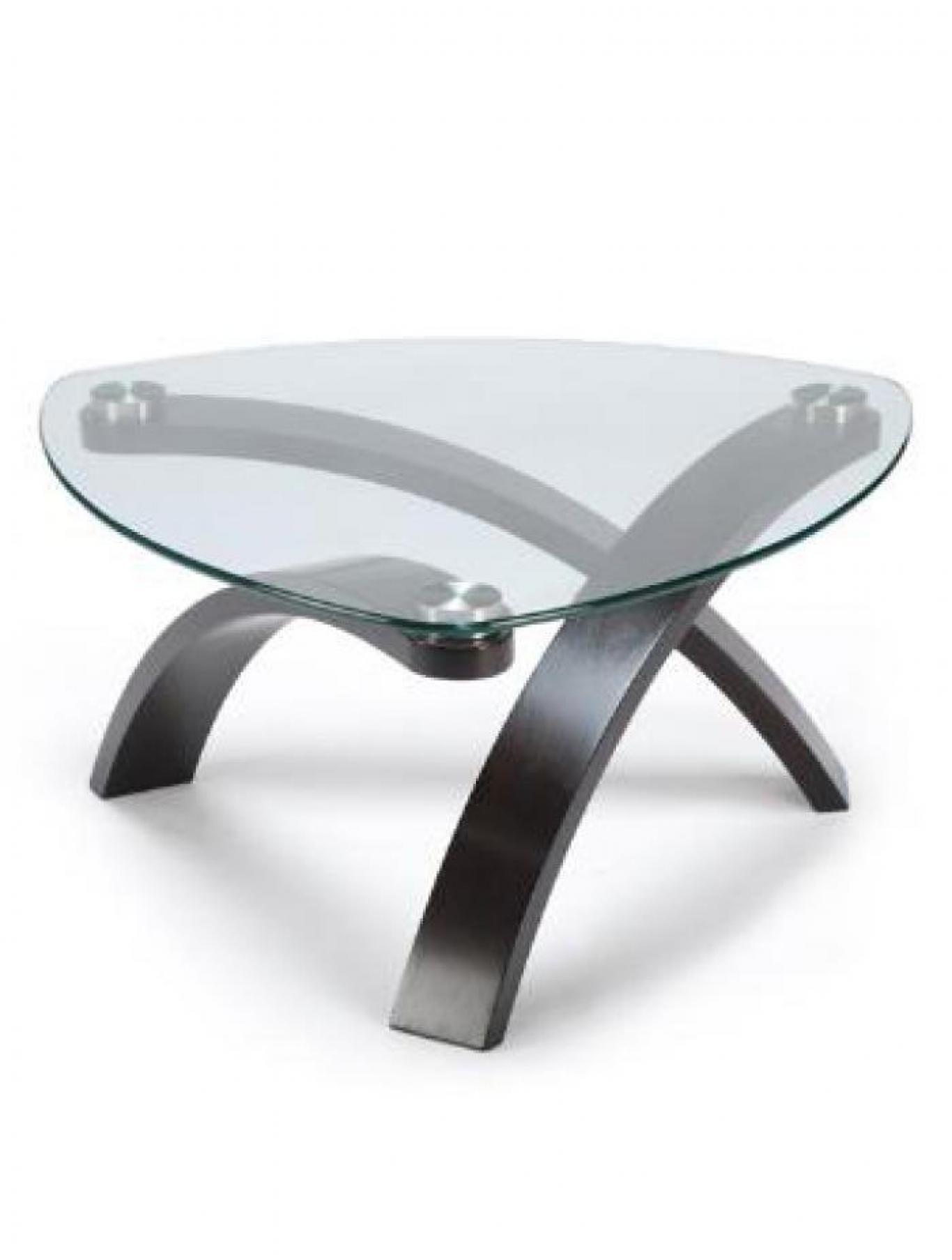 Cocktail Table Wood/Glass Tri Bent,Brandywine Showcase