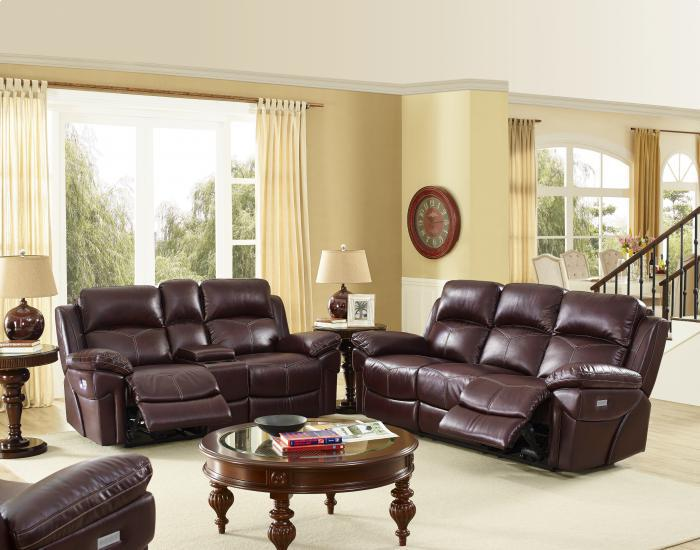 Warner Brown Power Reclining Sofa/ Love With Power Head Rest/ and Memory seating,Brandywine Showcase