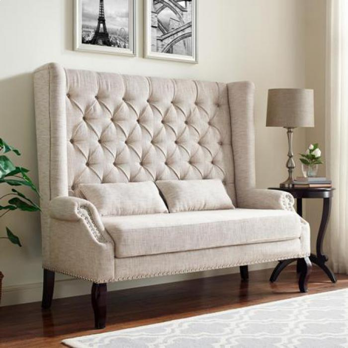 Kaylee Linen Tufted Highback Love Bench,Brandywine Showcase