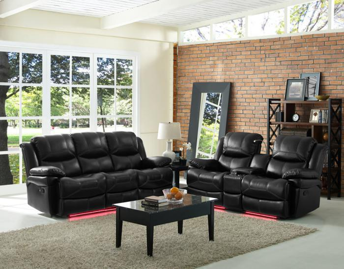 Reclining Sofa Power Flynn Black W/ Multi Color Lights and Manual Love With console/USB/Reading lights,Brandywine Showcase