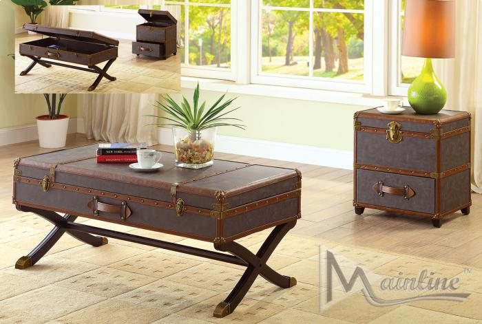 Odyssey Treasure Chest End Table,Brandywine Showcase