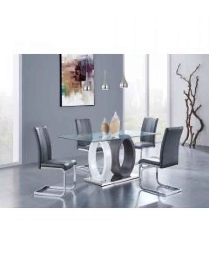 Dining Table Modern Rectangle Glass/Chrome/2 Tone Gray/White,Brandywine Showcase