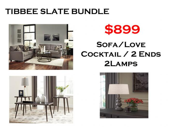 BUNDLE / Tribbee Slate Sofa / Love Cafe Coffee 2 Ends/ 2 Lamps,Brandywine Showcase