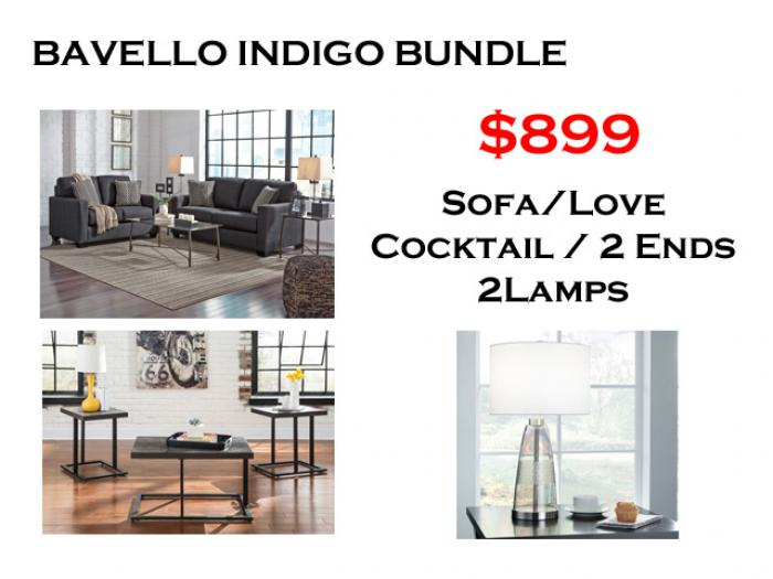 BUNDLE / Bavello Indigo Sofa / Love Black Coffee 2 Ends/ 2 Lamps,Brandywine Showcase
