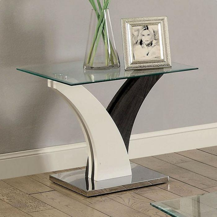 Sloane End Table Dark Grey/White,Brandywine Showcase