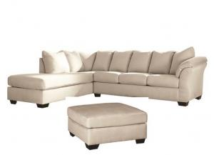 Darcy Stone Sectional With Oversize Ottoman