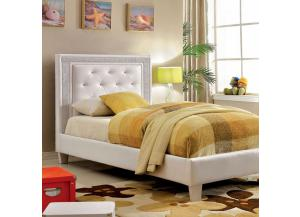 Twin Bed Lianne White/Diamond Accents