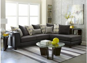 2 Piece Sectional San Marino Black/ Abbington Ash