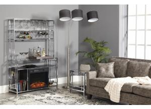 Silver Floor Lamp With Black Shade