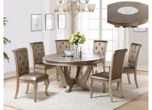 Mina Round Dining Table W/Mirror Lazy Susan/4 Chairs