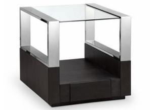 Revere Graphite End Table Chrome/Glass