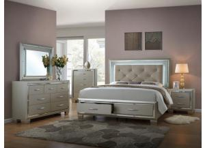 Platinum Queen Bed w/ Lighted HB, Dresser, Mirror and Nightstand