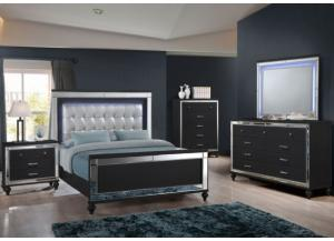 Valentino Black Queen Bed/Dresser/Mirror/Chest/Nightstand (FLOOR MODEL)