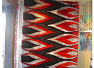 5x8 Luxury Shag Red/Black/White/Woven Peacock Feathers