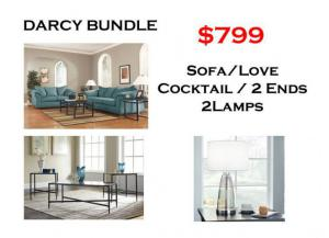 Image for BUNDLE / Darcy Sofa / Love Sky Coffee 2 Ends/ 2 Lamps