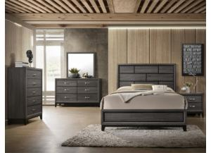 Image for Akerson Grey Full Bed/Dresser/Mirror/Chest/ FREE Nightstand