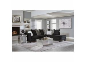 2 Piece Sectional  Jet Black/Maximus Storm/Mongolian Fur