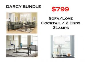 BUNDLE / Darcy Sofa / Love Sage Coffee 2 Ends/ 2 Lamps