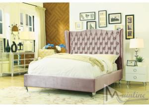 Image for Noble Fawn Brown Velvet True Queen Platform Bed