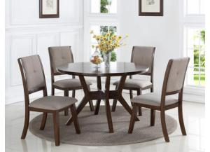 Barney Dark Brown Table 4 Chairs