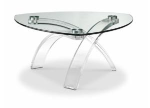 Image for Cassius Pie Shaped Acrylic/Glass Cocktail Table