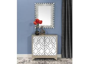 Accent Cabinet Wooden  2 Door Mirror