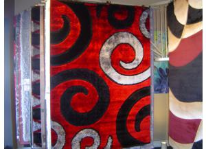 5x8 Luxury Shag Red/Black/White/Big Swirls