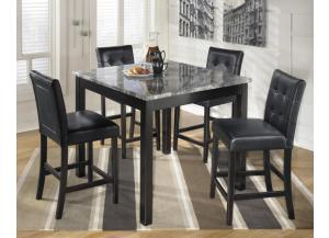 Counter Height 42x42 Grey Faux Marble Table/4 Black Stools