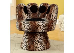Paus Leopard Swivel Accent Chair