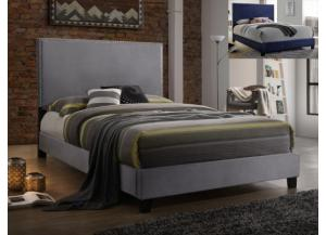 Delora Gray/Studded Queen Bed