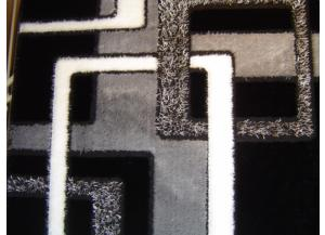 5x8 Luxury Shag Black/Grey/Modern Interlocking Squares