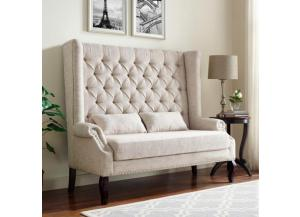 Kaylee Linen Tufted Highback Love Bench