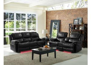 Reclining Sofa Power Flynn Black W/ Multi Color Lights and Manual Love With console/USB/Reading lights