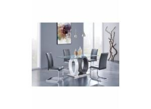 Dining Table Modern Rectangle Glass/Chrome/2 Tone Gray/White