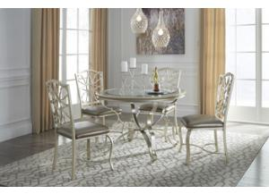 Shollyn Silver Round Dinning Table 4 Chairs