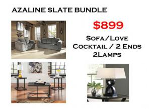 BUNDLE / Azaline Slate Sofa / Love/ Coffee 2 Ends/ 2 Lamps