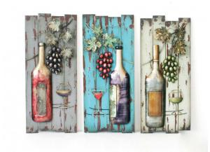 Purple Wine Bottle Metal Wall Decor (Each Sold Separately)