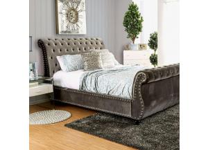 Noella Studded Grey Sleigh Bed