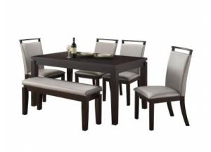 6 Pc Dinette Table/4Sc/Bench Black/Silver