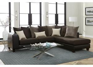 2 Piece Sectional San Mar Chocolate/Raconteur Beluga/Dark Taupe